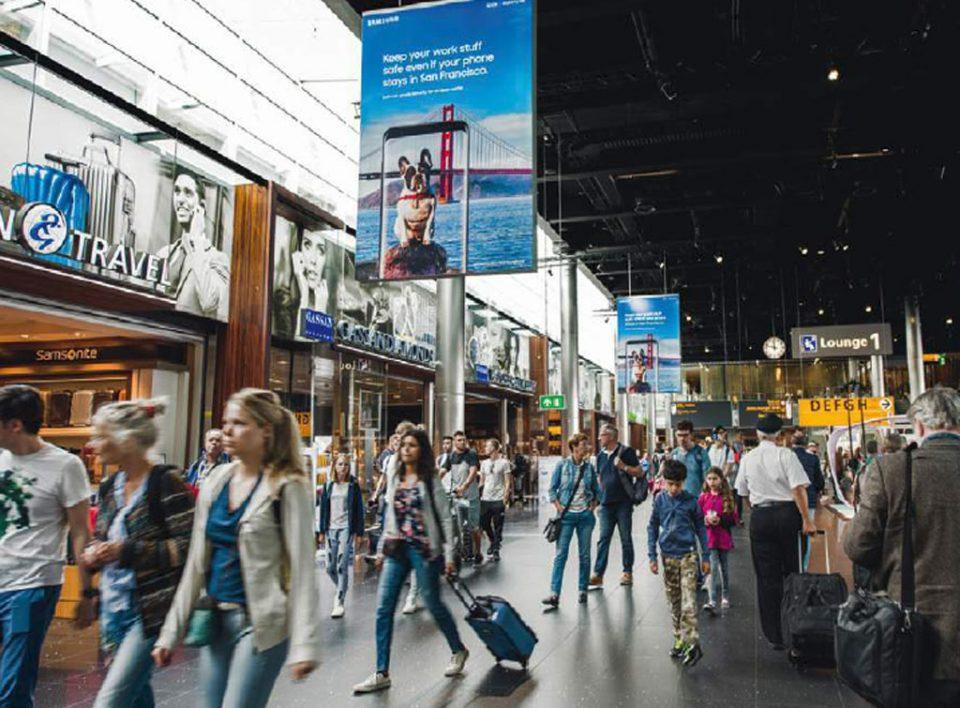 Europemedia pubblicità e impianti pubblicitari nell'aeroporto di Amsterdam in Olanda