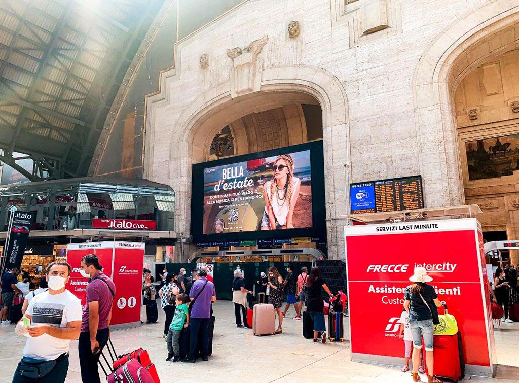 Europe Media Impianti Pubblicitari Digital Led Wall nel Circuito Grandi Stazioni Ferroviarie Milano