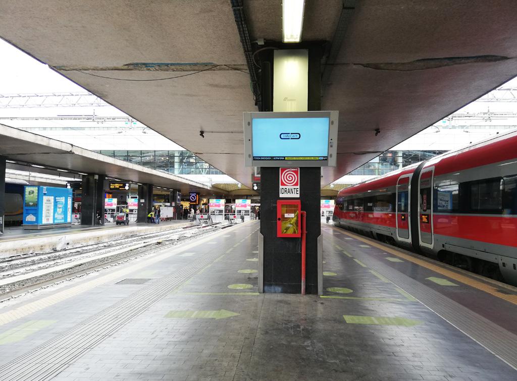 Europe Media Impianti Pubblicitari GOTV nelle Grandi Stazioni Ferroviarie Roma