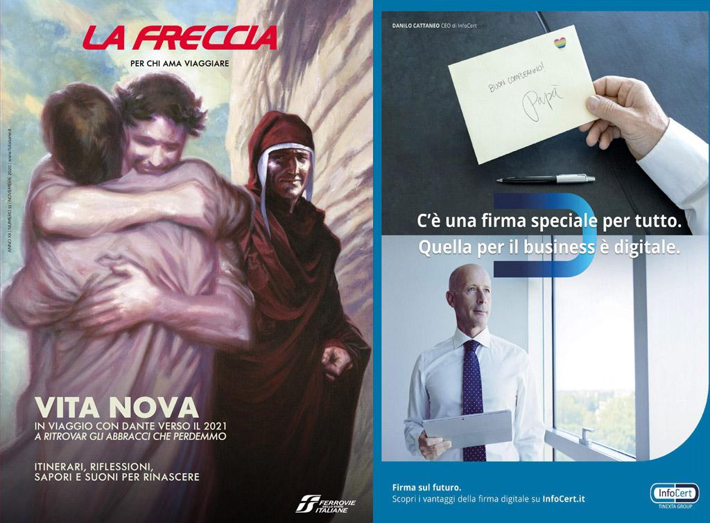 europemedia pubblicità sul magazine di bordo treno la freccia novembre 2020 per infocert